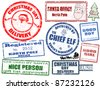 Set of isolated grunge Christmas stamps on white background, vector illustration - stock photo