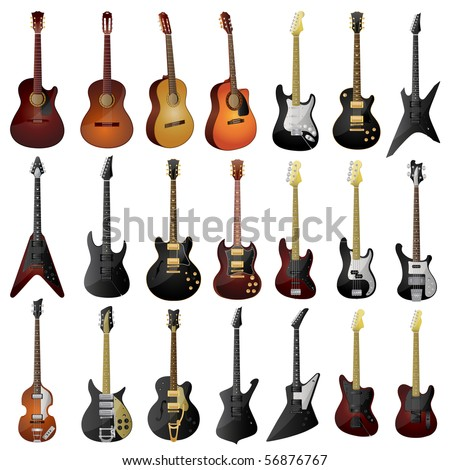 Set of isolated guitars - stock vector