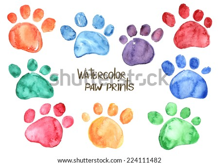 Set of isolated hand drawn watercolor animal footprints - stock vector