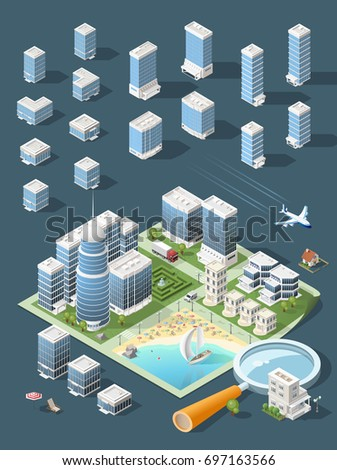Set of Isolated High Quality Isometric City Elements . Harbor with Shadows on Dark Background
