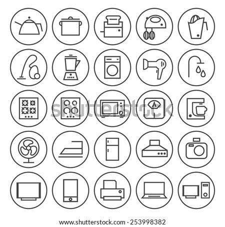 Set of Isolated High Quality Universal Standard Minimal Simple Black Thin Line Home Appliances Icons on Circular Buttons on White Background. - stock vector