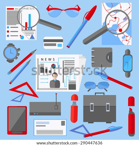 Set of isolated icons of office and business elements for web and mobile applications, newspaper, gadget, watches, sunglasses, bag. Vector illustrations - stock vector