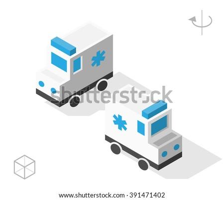 Set of Isolated Isometric Minimal City Elements. Ambulance with Shadows on White Background. - stock vector
