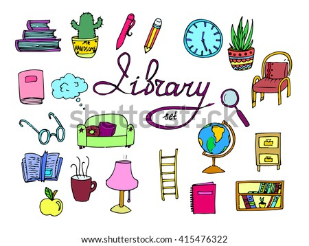 Set of isolated library doodle icons. Books, clock, glasses, school globe, apple, lamp, open book, bookmark, pen, pencil. Doodle colored icons. Cartoon style. Hand drawn vector stock illustration - stock vector