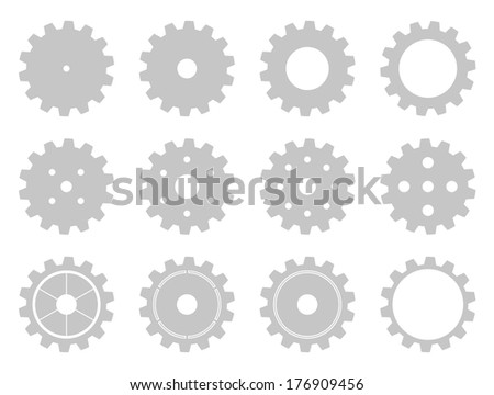 Set of 12 isolated machine wheel gears in different styles - stock vector