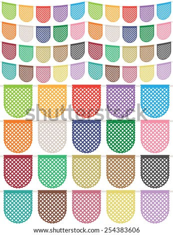 set of isolated paper mesh bunting, twenty variations - stock vector