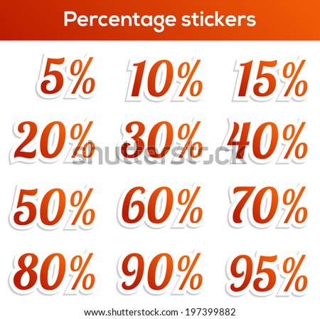 Set of 12 isolated percentage stickers -from 5 to 95 percent - stock vector