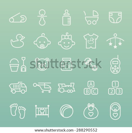 Set of Isolated Quality Universal Standard Minimal Simple White Baby Thin Line Icons on Color Background. - stock vector