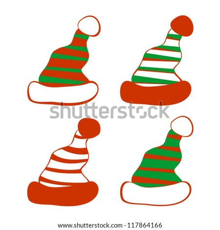 Set of Isolated Red and Green Christmas Hats on White background - stock vector