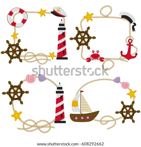 set of isolated rope frames nautical vector illustration eps - Nautical Picture Frames
