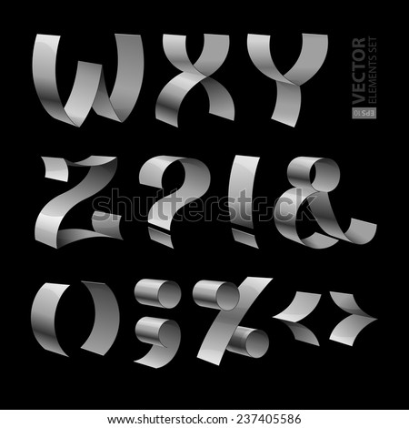 Set of isolated shiny metallic ribbon font W-Z letters and punctuation marks on black background. RGB EPS 10 vector illustration - stock vector