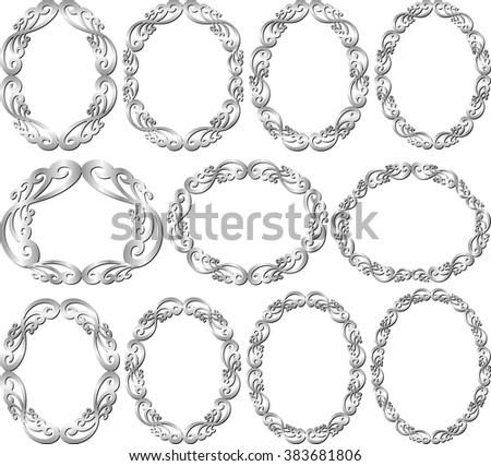 set of isolated silver frames - stock vector