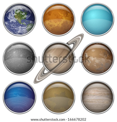 Set of isolated space buttons with planets of Solar System - Mercury, Venus, Earth, Mars, Jupiter, Saturn, Uranus, Neptune and Pluto. Elements furnished by NASA. Vector - stock vector