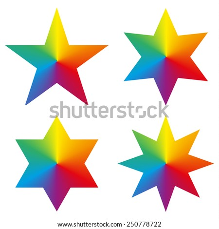 Set of 4 isolated stars with rainbow circle gradient - stock vector
