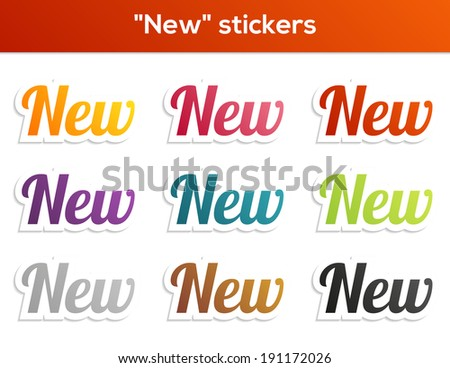 Set of 9 isolated stickers with New text - stock vector