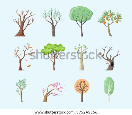 Set of isolated trees design flat. Tree forest, leaf tree vector isolated, tree branch nature green, plant eco branch tree, organic natural wood  illustration - stock vector