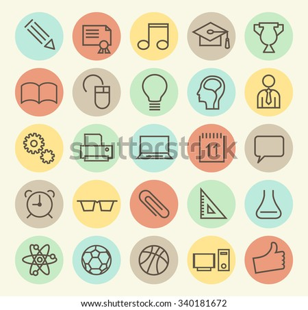 Set of Isolated Universal Minimal Simple Vintage Thin Line Education Icons on Circular Color Buttons.