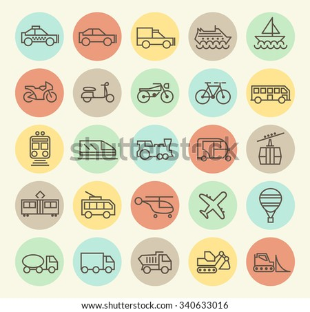 Set of Isolated Universal Minimal Simple Vintage Thin Line Transport Icons on Circular Color Buttons. - stock vector