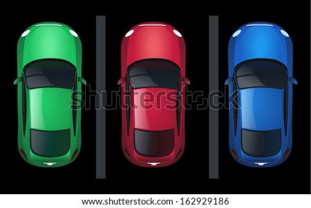 Set of Isolated Vector Cars, Top View Position - stock vector