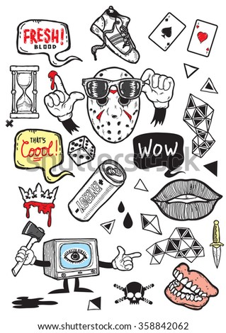 Set of isolated vector elements.Psyhedelic TV theme. Hand-drawn vector images.Good for stickers. Easy to edit. EPS8 file.