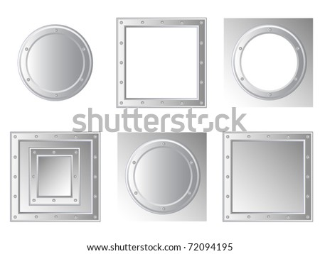 Set of isolated vector framework. Metal with rivets. Round and square. - stock vector