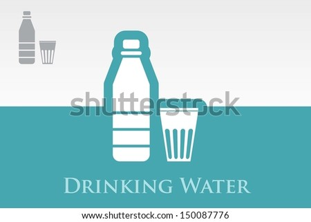 set of isolated water bottle & Glass - stock vector