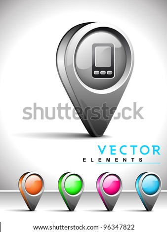 Set of isolated website and internet web 2.0 icons or navigation pins for contact, address or location with mobile symbol. - stock vector