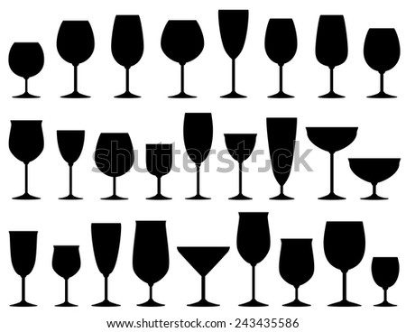set of isolated wine and dessert glasses on white background - stock vector