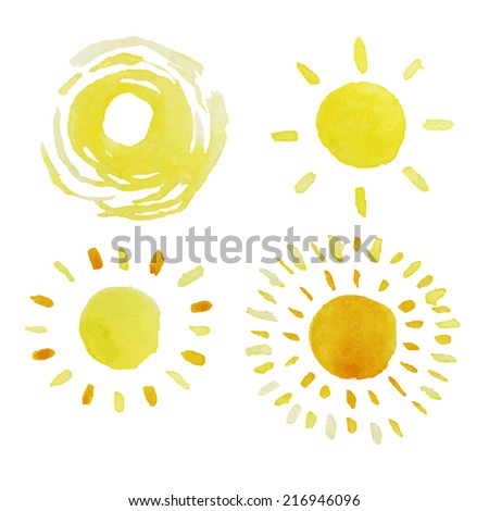 set of isolated yellow watercolor sun, vector - stock vector