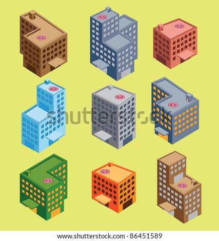 set of isometric building - stock vector