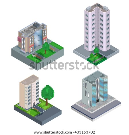 Set of isometric building. Vector illustration - stock vector