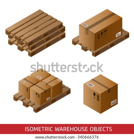 Set of isometric cardboard boxes and pallets isolated on white. 3D warehouse equipment. Industrial pallets and boxes for warehouse.  - stock vector