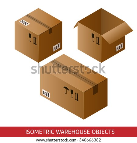 Set of isometric cardboard boxes isolated on white background. 3D warehouse objects. Isometric vector illustration. - stock vector
