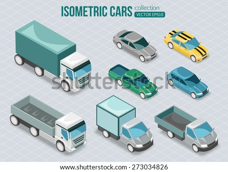 Set of isometric cars. Vector illustration. - stock vector