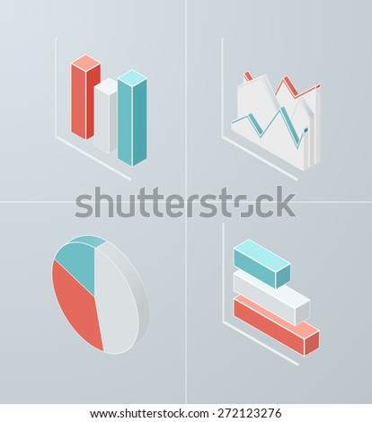 Set of isometric chart icons. Vector 3d graph for presentation, banner, report design. - stock vector