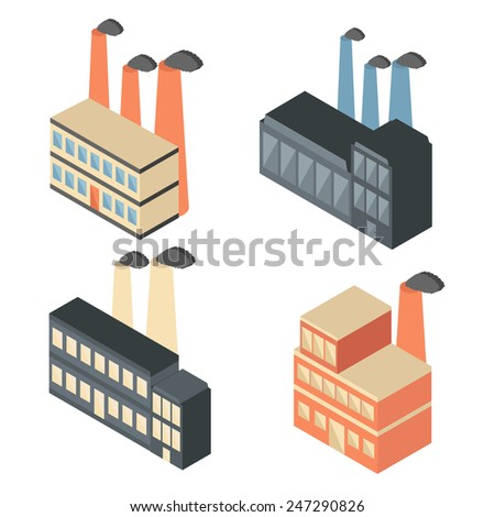 Set of isometric factory icons for your design - stock vector