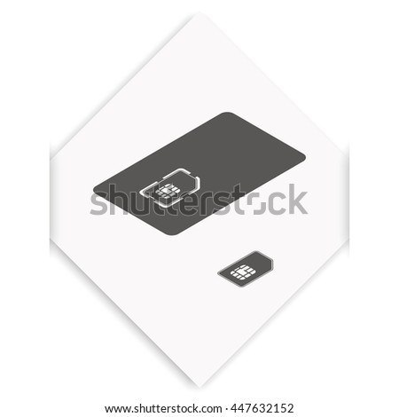 Set of isometric sim card and case illustration.