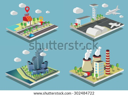 Set of Isometric vector illustrations City and industrial buildings. - stock vector