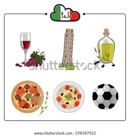Set Italian Cultural Symbols Italy Vector Stock Vector 198187922