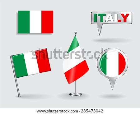 Set of Italian pin, icon and map pointer flags. Vector illustration. - stock vector
