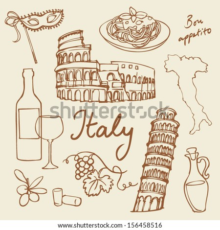 Set of Italy icons doodle vector illustration