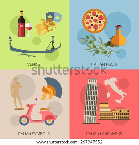 Set of Italy travel compositions with place for text. Venice, Italian Pizza, Italian Symbols, Italian Landmarks. Set of colorful flat icons for your design. Vector illustration. - stock vector