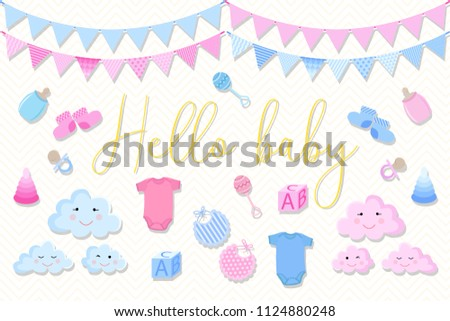 Set Items Birthday Cards Newborns On Stock Vector 1124880248
