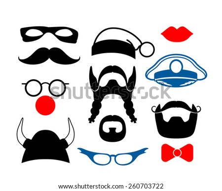 Set of items for party or masquerade. False mustache, funny glasses, mask and helmet. Vector illustration - stock vector
