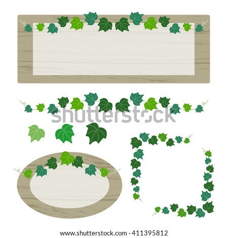 set of ivy and wooden sign  / vector eps10 illustration