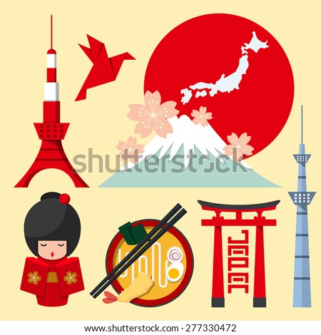 Set of Japan icon in flat design. Vector Illustration. - stock vector
