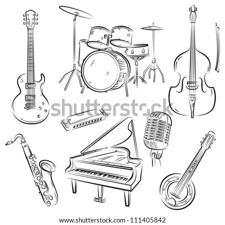 Set of jazz and rock'n'roll band musical equipment - stock vector