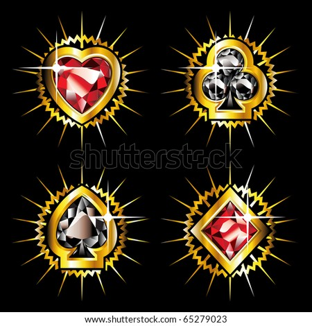 set of jewel aces with golden shine - stock vector