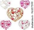 Set of jewelry designed hearts - stock