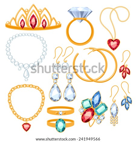Set of jewelry items. Gold and gemstones precious accessorize - tiara, necklace, pearl beads, ring, earrings, bracelet, brooch.